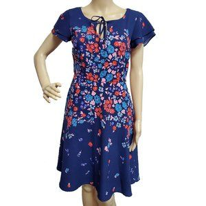 ModCloth Navy Floral Fit & Flare Dress